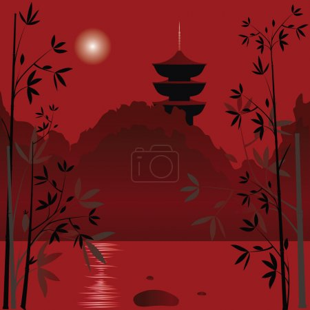 Illustration for Magic asian lake with sunset background and bamboo - Royalty Free Image
