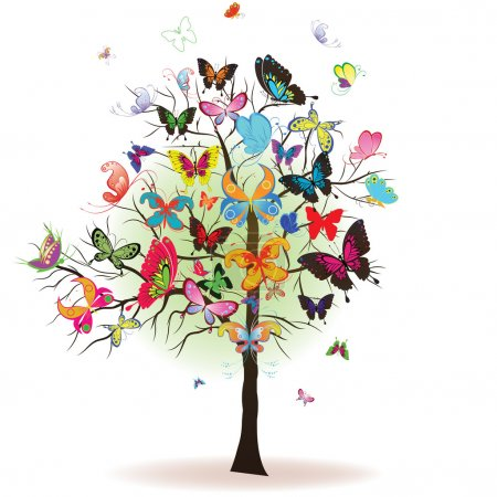Photo for Floral tree with butterfly, element for design, vector illustration - Royalty Free Image