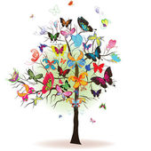 Tree with butterfly element for design vector illustration
