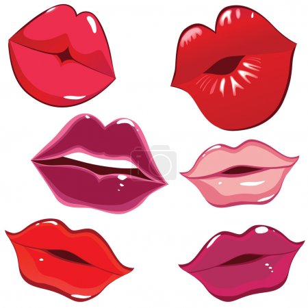 Set of glossy lips in tender kiss.