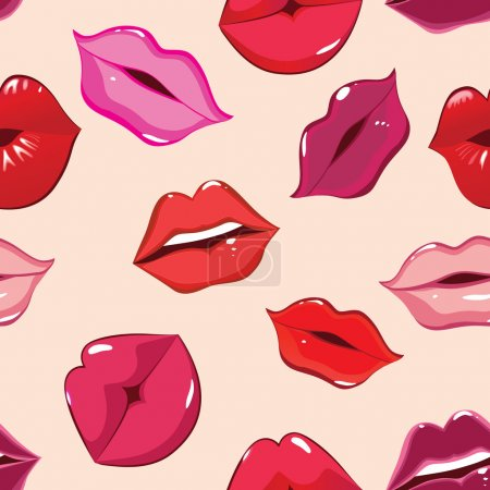 Illustration for Seamless pattern, print of lips, vector illustration - Royalty Free Image