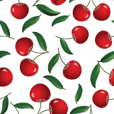 Illustration for Seamless red cherry background. Vector illustration. Element for design. - Royalty Free Image
