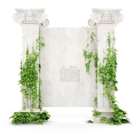 Photo for Stylized antiquity billboard covered with ivy isolated on white background - Royalty Free Image