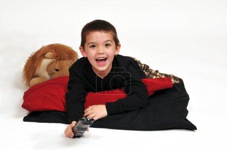 Smiling Boy Watching TV