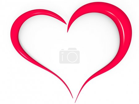 Photo pour Coeur d'amour 3D simple en rouge - image libre de droit