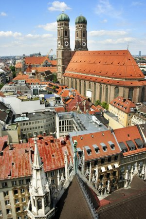 Panoramic view on city and the Cathedral of Our Lady, Munich, Germany