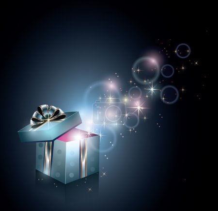 Illustration for Gift box and magical light - Royalty Free Image