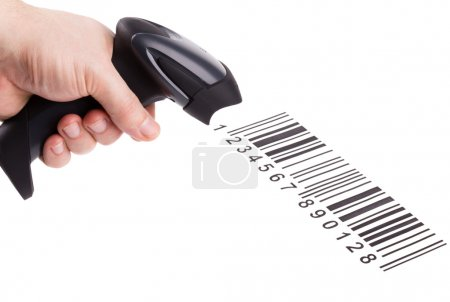 The manual scanner of bar codes in man hand