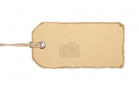 Photo pour Étiquette en carton ancien isolée sur fond blanc - image libre de droit