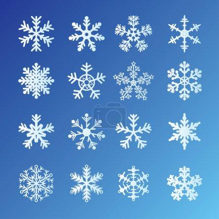 Foto de 16 copos de nieve en fondo azul. fácil de editar vectores - Imagen libre de derechos