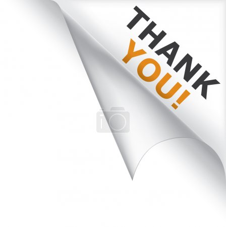 Illustration for Vector white page curled corner with thank you message - Royalty Free Image