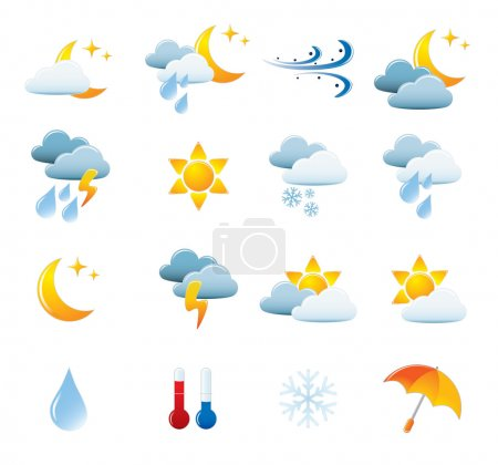 Illustration for Weather Icon Set. Easy To Edit Vector Image. - Royalty Free Image