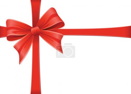 Illustration for Red Bow With Ribbons. Vector Decoration Collection. - Royalty Free Image