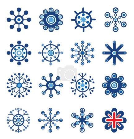 Illustration pour Jeu de style rétro de flocons de neige. facile à modifier l'image vectorielle. - image libre de droit