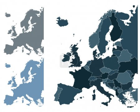 Illustration for Set of Europe vector highly detailed maps - Royalty Free Image