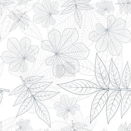 Illustration pour Modèle sans couture de silhouette de feuilles vectorielles - image libre de droit