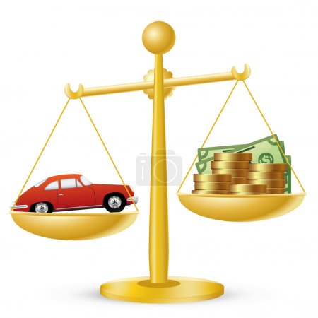 Illustration for Car and money on scales. Car prices concept. - Royalty Free Image