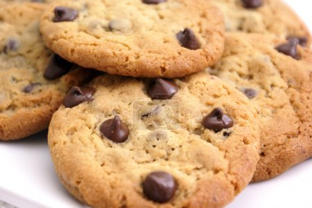 Photo for Closeup of delicious homemade chocolate chip cookies. - Royalty Free Image