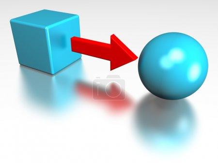 Photo pour Représentation 3D d'un cube converti en sphère, représentant des notions telles que la conversion, la transformation, le traitement, le changement, la formation et l'éducation - image libre de droit