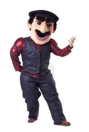 Funny caucasian man posing in mascot costume