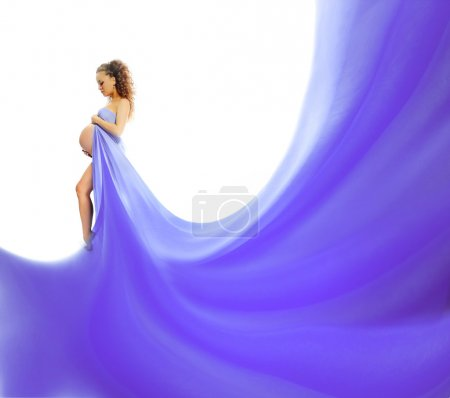Photo for Pregnant woman with a blue veil - Royalty Free Image