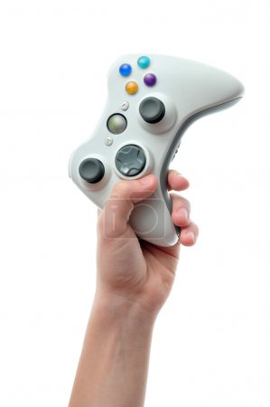 Photo for Hand holding a video game controller in mid air isolated on white background. - Royalty Free Image