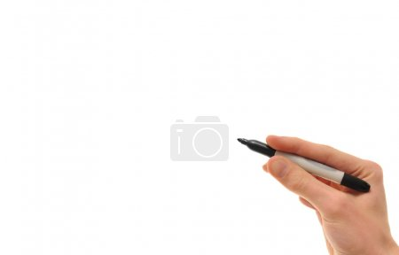 Photo for White Caucasian hand holding a black marker isolated on pure white background copyspace with room for your text, image, or design - Royalty Free Image