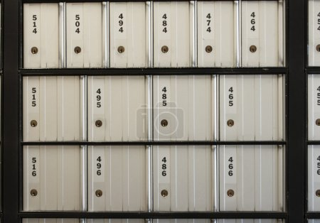 Post office boxes. These postoffice boxes are numb...