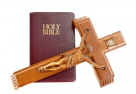 Photo for Holy Bible with a red leather cover isolated on a white background with crucifix - Royalty Free Image