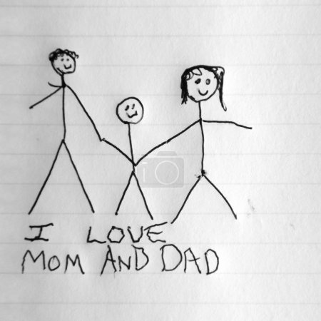 Photo for Stick figure drawing of a child holding mom and dad's hand. - Royalty Free Image
