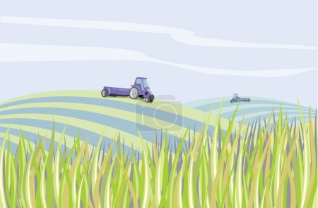 Illustration for Clear landscape with mechanisms to harvest the field - Royalty Free Image