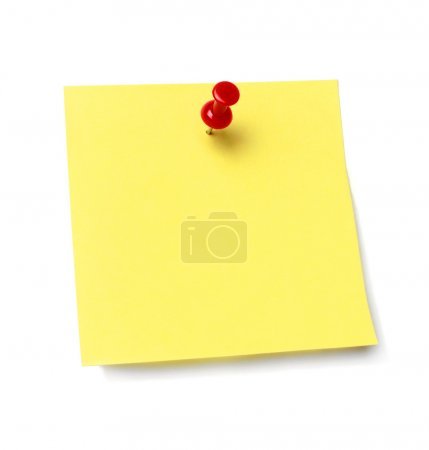 Photo for Sticky note held by a pushpin waiting for your message. Add your own text or design. - Royalty Free Image