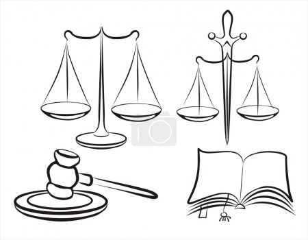 Illustration for Justice concept set of symbols in simple black lines - Royalty Free Image