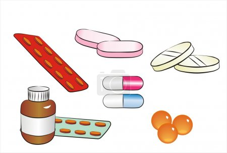 Illustration for Set of different isolated pills and drugs cartoon style - Royalty Free Image