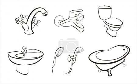 Bathroom and wc concept set of isolated devices