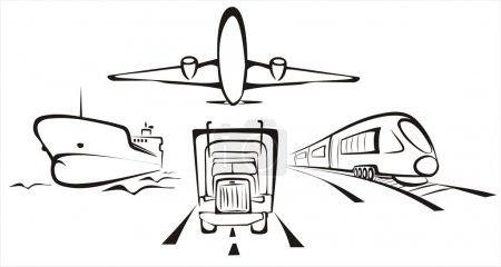 Illustration pour Transport symobol toutes sortes par route, air, rail et mer - image libre de droit
