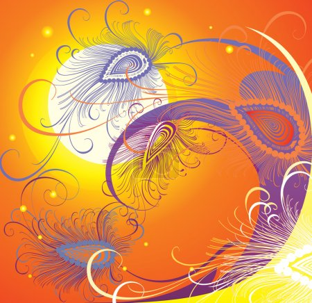 Illustration for Bright SOUTH COMPOSITION. Peacock feathers. sunset wave. - Royalty Free Image