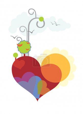 Illustration pour La Terre sous la forme du cœur. simple image concise de l'aube, et l'arrivée des oiseaux de printemps - image libre de droit