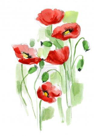 Photo pour Conception d'été floral avec des fleurs abstraites peintes à la main - image libre de droit