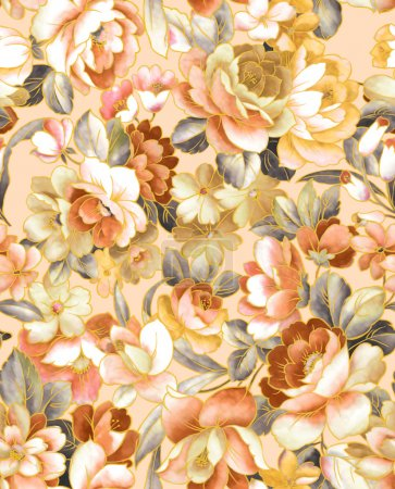 Photo for Seamless floral garden background pattern - Royalty Free Image