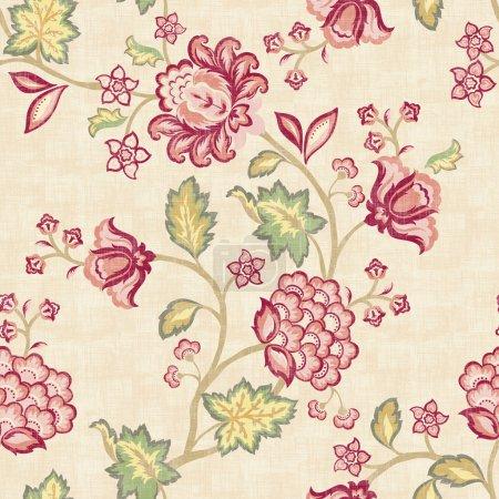 Photo pour Fond floral prink sans couture. Pour faciliter la fabrication de motifs sans couture, utilisez-le pour remplir tous les contours . - image libre de droit