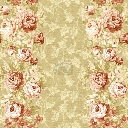 Photo for Seamless rose with gold background design pattern - classical style - Royalty Free Image