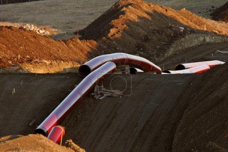 Photo pour Tuyaux prévus pour le pipeline de gaz naturel - image libre de droit
