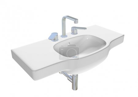 Modern washbasin or sink with chrome faucet and plumbing fixture