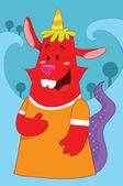 Cute and funny looking red monster with a horn, birthday party