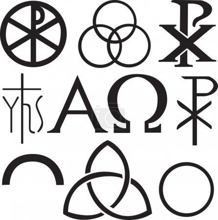 Set of christian symbols