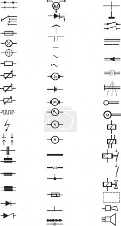 An extensive list of numerous electrical signs and symbols, all in vector.