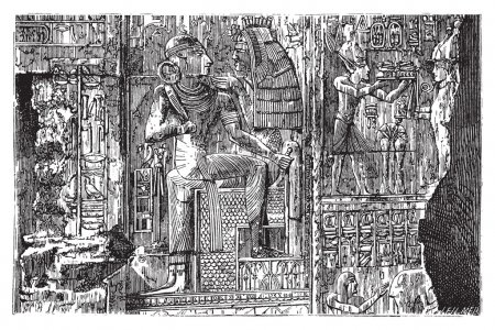 Abydos, Egypt. Bas-relief illustration of hierogly...