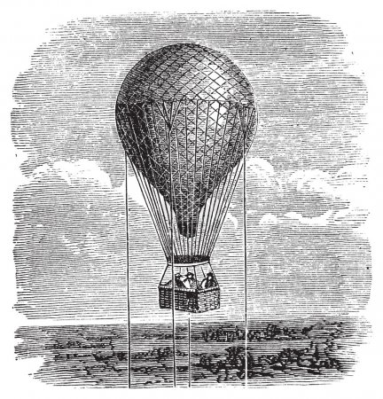 Illustration for Antique aerostat or hot air balloon vintage illustration. Old engraving of a hot air balloon up in the sky, attached by ropes. - Royalty Free Image