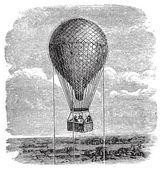 Old aerostat or hot air balloon vintage illustration